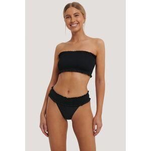 NA-KD Swimwear Smocked Flounce Bikini Panty - Black