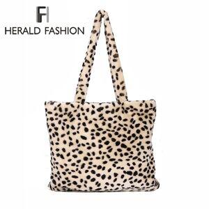 Herald Fashion Winter Soft Faux Fur Bag Large Women Fur Tote Bag Warm Plush  Handbag Luxury 81628876e739a