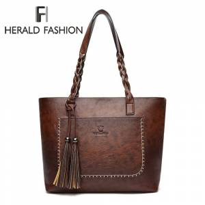 43c13f569c6f Herald Fashion Vintage PU Tassel Women Shoulder Bag Female Retro Daily  Causal Totes Lady Elegant Shopping