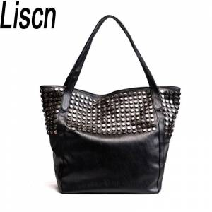 c8121b7728 Women Casual Tote Bag Fashion Women Shoulder Bags Famous Brand Pu Leather  Handbags Vintage Rivets Bolsos