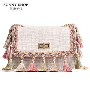 SUNNY SHOP Boho Fringe Crossbody Bag High Quality Women Fashion 2018 Mini  Chain Shoulder Bag Canvas 1e83c6215fe80