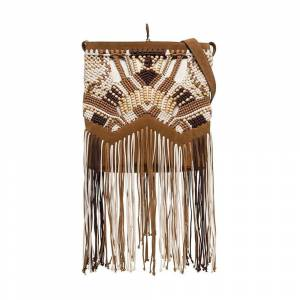 alberta ferretti Shoulder Bag with Fringes and Wooden Pearls