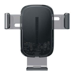 Baseus Explore Wireless Charger Gravity Car Mount 15W - Sort / Gennemsigtig