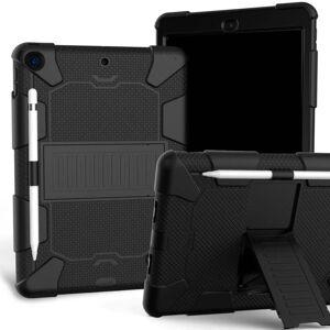 """TABLETCOVERS.DK iPad 10.2"""" (2020 / 2019) Håndværker Cover m. Stand og Stylus Holder - Sort"""