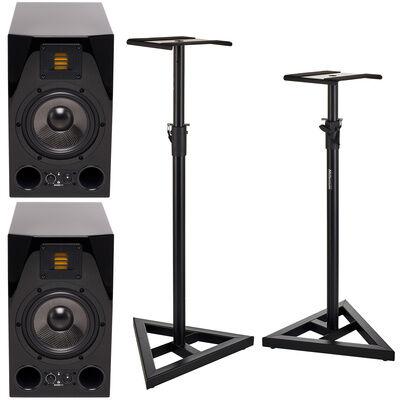Adam A7X Glossy Black Stand Bundle