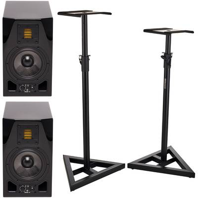 Adam A5X Glossy Black Stand Bundle