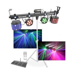 MEGA Lysshow-Bar / 2x Parlamper, 2x Flowereffekt, 4x Stroboskop og L showbar par