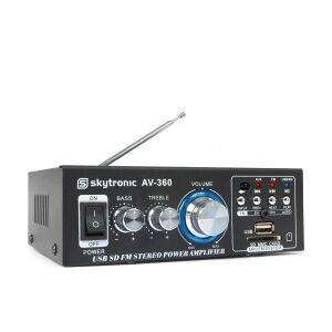 Mini Hi-Fi forstærker AV-360 2x40W med FM radio og USB/SD/MP3-afspiller TILBUD