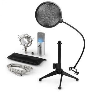 Auna MIC-900S-LED USB mikrofonisetti V2   3-osainen mikrofonisetti pöytästatiivi