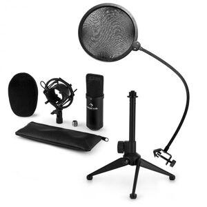 Auna CM001B mikrofonisetti V2 kondensaattorimikrofoni mikrofoniteline pop-suoja musta
