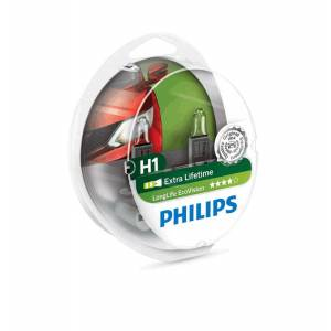 PHILIPS Bilpære H1 ECOVISION (LONGLIFE) - 2-PAK