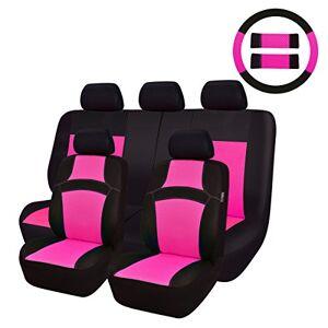 CAR PASS Bil Passa regnbåge universal passform bilstolsskydd 100 % andningsbar med 5 mm kompositsvamp inuti, airbag kompatibel 14pc Rosenröd