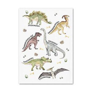 HNGFV Alfabetnummer Dinosaur Wall Art Nursery Cartoon Dinosaur Poster och tryck Baby Kids Room Canvas Paintings Decor 40x60cm x1 Ramlös