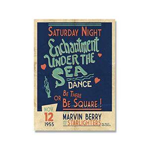 MXIBUN Tillbaka till framtiden förtrollning under havet dans retro affischer vintage foto film rekvisita väggkonst canvasmålning heminredning – 50 x 71 cm ingen ram