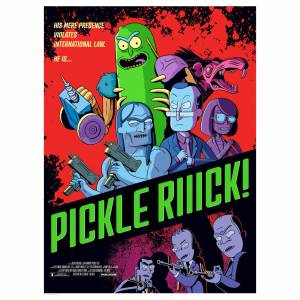 """Acme Archives Rick & Morty Pickle Rick Lithograph Print By Serban Cristescu (18""""x24"""") – Zavvi Exclusive Limited To 300 Pieces"""