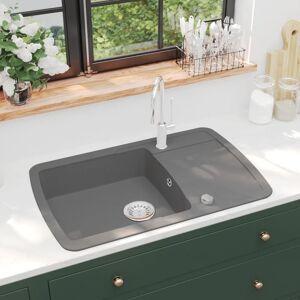 vidaXL Kjøkkenvask enkel kum granitt grå