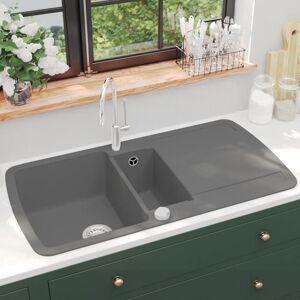vidaXL Kjøkkenvask dobbel kum granitt grå
