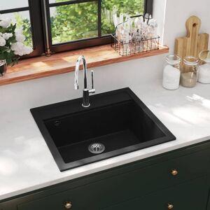 vidaXL Kjøkkenvask i granitt enkel kum svart