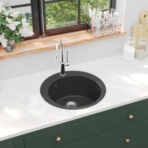 vidaXL Kjøkkenvask i granitt enkel kum rund svart