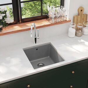 vidaXL Kjøkkenvask i granitt enkel kum grå