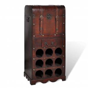 vidaXL Vinstativ for 9 flasker med oppbevaringsboks tre