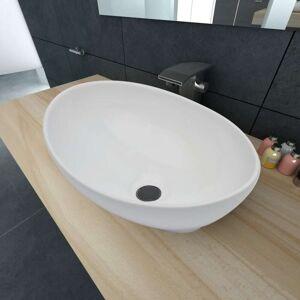 vidaXL Luksusservant keramisk oval hvit 40 x 33 cm