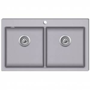 vidaXL Kjøkkenvask dobbel kum grå granitt