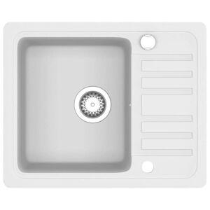 vidaXL Kjøkkenvask enkel kum granitt hvit