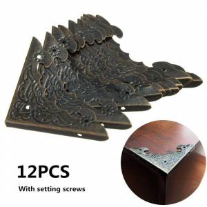Antique 12pcs Antique Brass Jewelry Gift Box Wooden Corner Protector Guard For Home Decorative Corners Brackets