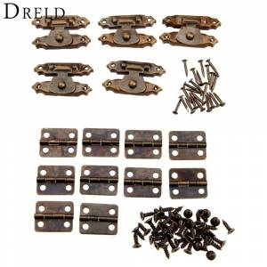 Antique 10Pcs Antique Bronze Furniture Cabinet Hinges + 5Pcs Jewelry Wooden Box CaseToggle Hasp Latch Iron Vintage Hardware Accessories