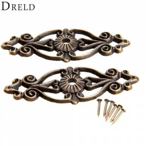 Antique 2Pcs Antique Decorative Corner Bracket for Furniture Wooden Box Feet Corner Protector Furniture Fittings with Screw 63x24mm