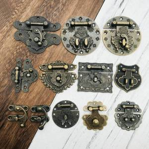 Antique 1x Antique Brass Wooden Case hasp Vintage Style Decorative Jewelry Gift Box Suitcase Hasp Latch Hook Furniture Buckle Clasp Lock