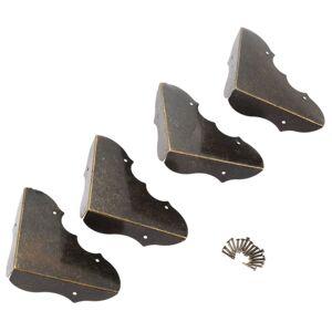 Antique 4Pcs Furniture Fittings Antique Corner Bracket Jewelry Wooden Box Feet Leg Corner Decorative Protector Furniture Hardware+Nails