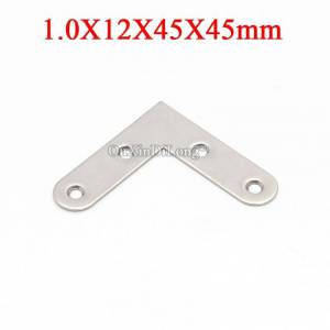 NEW 200PCS Stainless Steel Flat Angle Corner Braces L Shape Furniture Connecting Fittings Frame Board Support Bracket 12X45X45mm