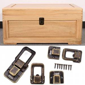 Antique 1Pc 25x38mm Antique Brass Box Hasps Metal Lock Catch Latches For Jewelry Chest Box Suitcase Buckle Clasp Vintage Hardware
