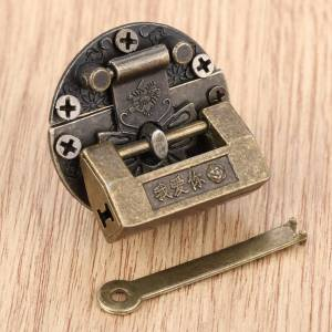 Antique 2Pcs Vintage Antique Iron Jewelry Wooden Box Padlock Chinese Old Brass Padlock for Suitcase Drawer Cabinet Key 33*18mm