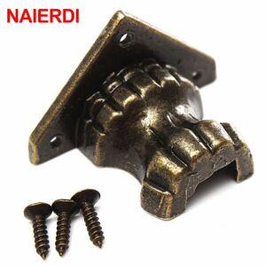 Antique NAIERDI 4pcs Antique Brass Jewelry Chest Wood Box Decorative Feet Leg Corner Protector For Furniture Cabinet Protect Hardware