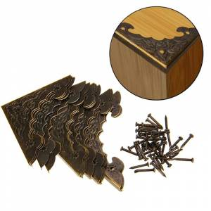 Antique 12PCS Antique Jewelry Box Corner Foot Wooden Case Corner Protector Bronze Tone Flower Pattern Carved Metal Crafts 40X40mm MAYITR