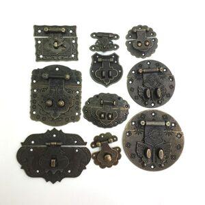 Antique 1x Antique Bronze Wooden Case hasp Vintage Decorative Jewelry Gift Box Suitcase Hasp Latch Hook Furniture Clasp Lock
