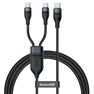 Baseus Opladerkabel USB-C til 2x USB-C 100W Fast Charging 1,5m. - Sort