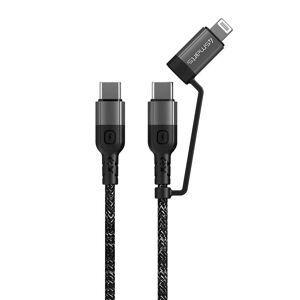 TABLETCOVERS.DK 4Smarts ComboCord USB-C til USB-C eller Lightning Kabel PD 60W - 0,25m. - Sort