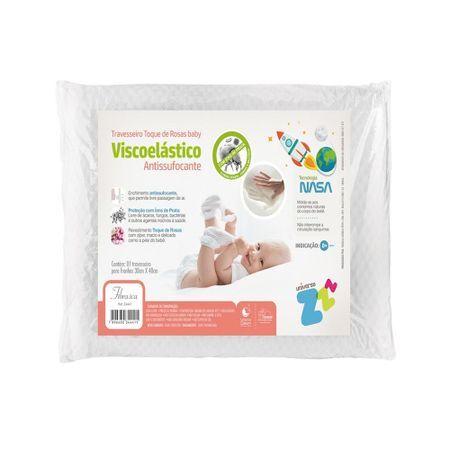Fibrasca Travesseiro para Bebê Antissufocante Visco Toque de Rosas Fibrasca Z4441