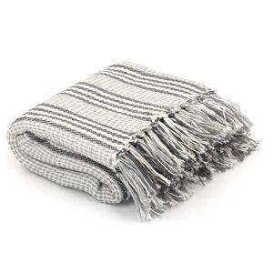 vidaXL Pledd bomull stripetmønster 160x210 cm grå og hvit