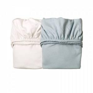 Leander, Laken til Leander vugge, 2pk misty blue/hvit