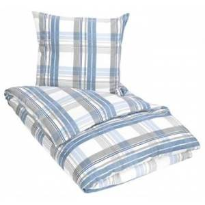 ByBorg king size Sengetøy Flanell - 240x220 cm - Check Blue - 100% bomullsflanell - Excellent By Borg
