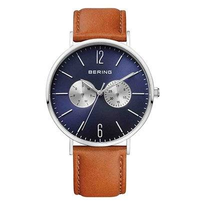 Relógio Bering 14240-507 Analógico Masculino - Masculino-Prata+Marrom