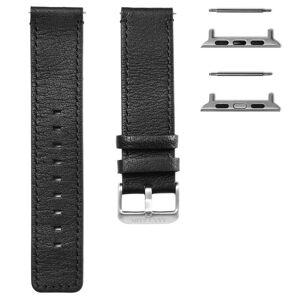 Trendhim Sort Læderurrem med Sølvfarvet Adapter til Apple Watch (42/44MM)