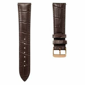 Trendhim 18mm Mørkebrun Urrem i Krokodille-Præget Læder med Rosenguldfarvet Spænde – Quick Release