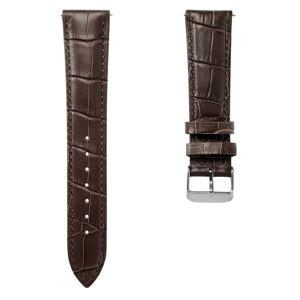 Trendhim 24mm Mørkebrun Urrem i Krokodille-Præget Læder med Sølvfarvet Spænde – Quick Release
