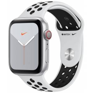 Apple Watch Nike Series 5 GPS + Cellular hopeanvärinen alumiinikuori 44mm Pure Platinum/musta Nike urheiluranneke MX3E2KS/A  - unisex